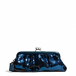 COACH F49900 - OCCASION SEQUIN FRAMED BAG SILVER/TEAL