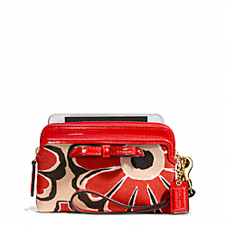 COACH F49932 Poppy Floral Scarf Print Double Zip Wristlet