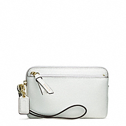 COACH F49937 Poppy Textured Patent Double Zip Wristlet LIGHT GOLD/ARCTIC WHITE