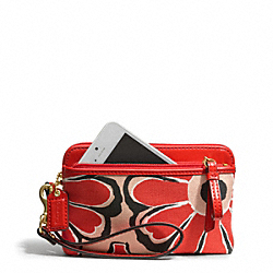 COACH F49939 Poppy Floral Scarf Print Double Zip Wristlet SILVER/PINK LADY