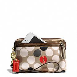COACH F49943 Poppy Watercolor Dot Double Zip Wristlet