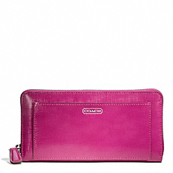COACH F49963 Darcy Patent Leather Accordion Zip SILVER/BRIGHT MAGENTA