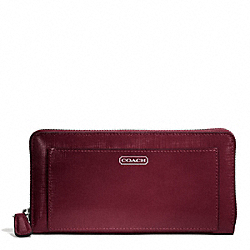 COACH F49963 Darcy Patent Leather Accordion Zip SILVER/BURGUNDY