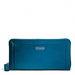 COACH F49963 Darcy Patent Leather Accordion Zip SILVER/TEAL