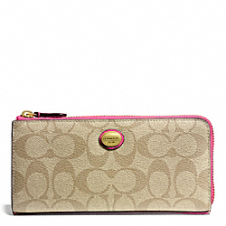 COACH F49964 Peyton Slim Zip In Signature Fabric BRASS/LT KHAKI/POMEGRANATE