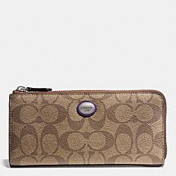 COACH F49964 Peyton Signature Slim Zip Wallet SILVER/KHAKI/VIOLET