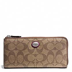 COACH F49964 Peyton Signature Slim Zip Wallet SILVER/KHAKI/MERLOT