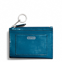 COACH F49966 Darcy Patent Leather Medium Skinny SILVER/TEAL