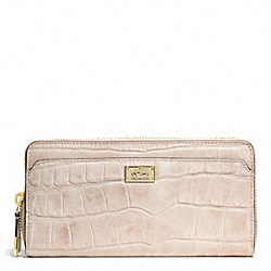 COACH F49976 Madison Embossed Croc Accordion Zip Wallet LIGHT GOLD/BLUSH
