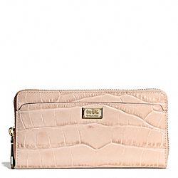 COACH F49976 Madison Embossed Croc Accordion Zip Wallet LIGHT GOLD/PEACH ROSE