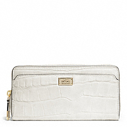 COACH F49976 Madison Embossed Croc Accordion Zip Wallet LIGHT GOLD/PARCHMENT