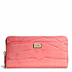 COACH F49976 Madison Embossed Croc Accordion Zip Wallet LIGHT GOLD/SALMON