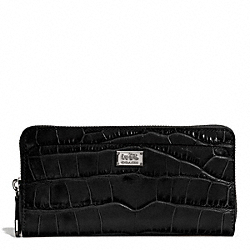 COACH F49976 Madison Embossed Croc Accordion Zip Wallet SILVER/BLACK