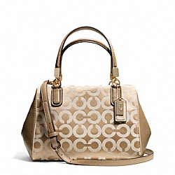 COACH F49977 - MADISON OP ART SATEEN MINI SATCHEL LIGHT GOLD/LIGHT KHAKI/CHAMPAGNE