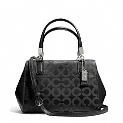 COACH F49977 - MADISON OP ART SATEEN MINI SATCHEL SILVER/BLACK/BLACK