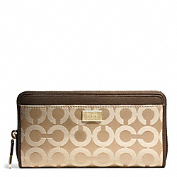 COACH F49983 Madison Accordion Zip In Op Art Sateen Fabric LIGHT GOLD/KHAKI/MAHOGANY