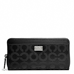 COACH F49983 Madison Accordion Zip In Op Art Sateen Fabric SILVER/BLACK/BLACK