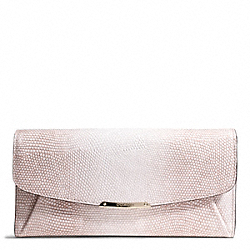COACH F49991 Madison Lizard Embossed Leather Slim Envelope LIGHT GOLD/BEIGE