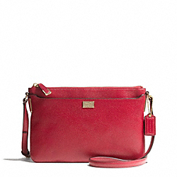 COACH F49992 Madison Leather Swingpack LIGHT GOLD/SCARLET