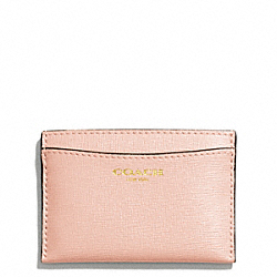 COACH F49996 Saffiano Leather Flat Card Case LIGHT GOLD/PEACH ROSE
