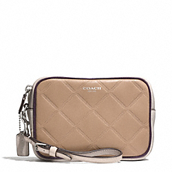 COACH F50037 Legacy Embossed Quilted Leather Flight Wristlet