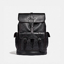 COACH F50044 - HUDSON BACKPACK IN SIGNATURE CANVAS BLACK/BLACK/OXBLOOD/BLACK COPPER FINISH
