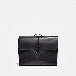 HUDSON MESSENGER IN SIGNATURE LEATHER - F50052 - BLACK/BLACK ANTIQUE NICKEL