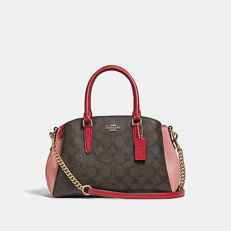COACH F50054 MINI SAGE CARRYALL IN COLORBLOCK SIGNATURE CANVAS BROWN BLACK/PINK MULTI/IMITATION GOLD