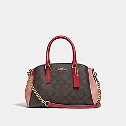 COACH F50054 - MINI SAGE CARRYALL IN COLORBLOCK SIGNATURE CANVAS BROWN BLACK/PINK MULTI/IMITATION GOLD