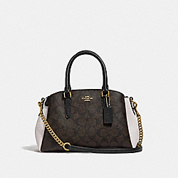 MINI SAGE CARRYALL IN COLORBLOCK SIGNATURE CANVAS - F50054 - BROWN BLACK/NEUTRAL MULTI/IMITATION GOLD