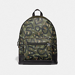 COACH F50056 Keith Haring West Backpack With Hula Dance Print SURPLUS MULTI/BLACK ANTIQUE NICKEL