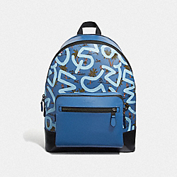 KEITH HARING WEST BACKPACK WITH HULA DANCE PRINT - F50056 - SKY BLUE MULTI/BLACK ANTIQUE NICKEL
