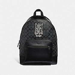 KEITH HARING WEST BACKPACK IN SIGNATURE CANVAS WITH MOTIF - F50057 - CHARCOAL/BLACK/BLACK ANTIQUE NICKEL