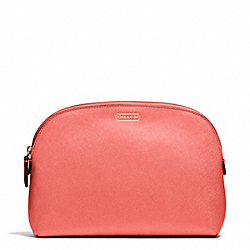 COACH F50060 Darcy Leather Cosmetic Case BRASS/CORAL