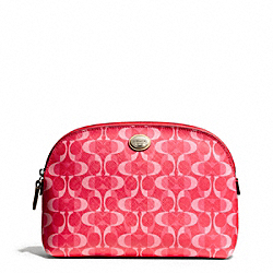 COACH F50064 Peyton Dream C Cosmetic Case SILVER/BRIGHT CORAL/TAN