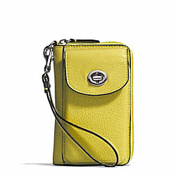 COACH F50070 Campbell Leather Universal Zip Wallet SILVER/CHARTREUSE