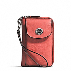 COACH F50070 Campbell Leather Universal Zip Wallet SILVER/TEAROSE