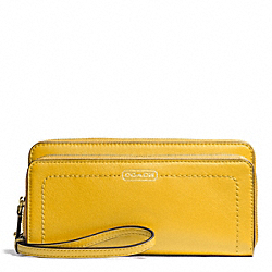 COACH F50075 Campbell Leather Double Accordion Zip Wallet BRASS/SUNFLOWER