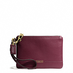 COACH F50078 Campbell Leather Small Wristlet BRASS/BORDEAUX