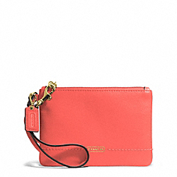 COACH F50078 Campbell Leather Small Wristlet BRASS/HOT ORANGE