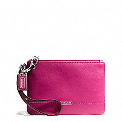 COACH F50078 Campbell Leather Small Wristlet SILVER/FUCHSIA