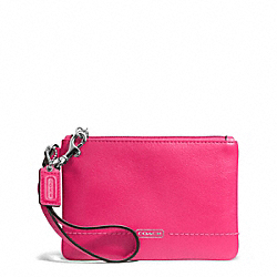 COACH F50078 Campbell Leather Small Wristlet SILVER/POMEGRANATE