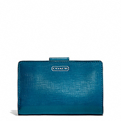 COACH F50086 Darcy Patent Leather Medium Wallet SILVER/TEAL