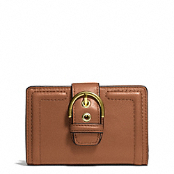 COACH F50090 Campbell Leather Buckle Medium Wallet BRASS/SADDLE