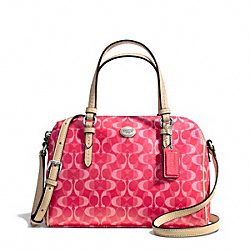COACH F50093 Peyton Dream C Bennett Mini Satchel SILVER/BRIGHT CORAL/TAN
