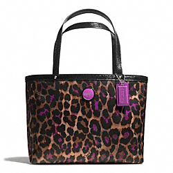COACH F50102 - SIGNATURE STRIPE OCELOT PRINT TOP HANDLE TOTE ONE-COLOR