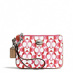 COACH F50108 Peyton Small Wristlet In Dream C Coated Canvas SILVER/WHITE POMEGRANATE/TAN