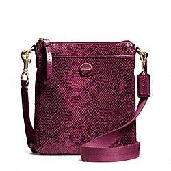 COACH F50116 - SIGNATURE STRIPE EMBOSSED EXOTIC SWINGPACK BRASS/RASPBERRY