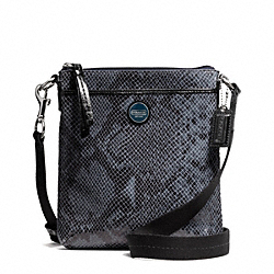 COACH F50116 - SIGNATURE STRIPE EMBOSSED EXOTIC SWINGPACK SILVER/BLACK