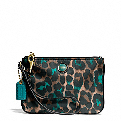 COACH F50131 Signature Stripe Ocelot Print Small Wristlet BRASS/JADE MULTICOLOR